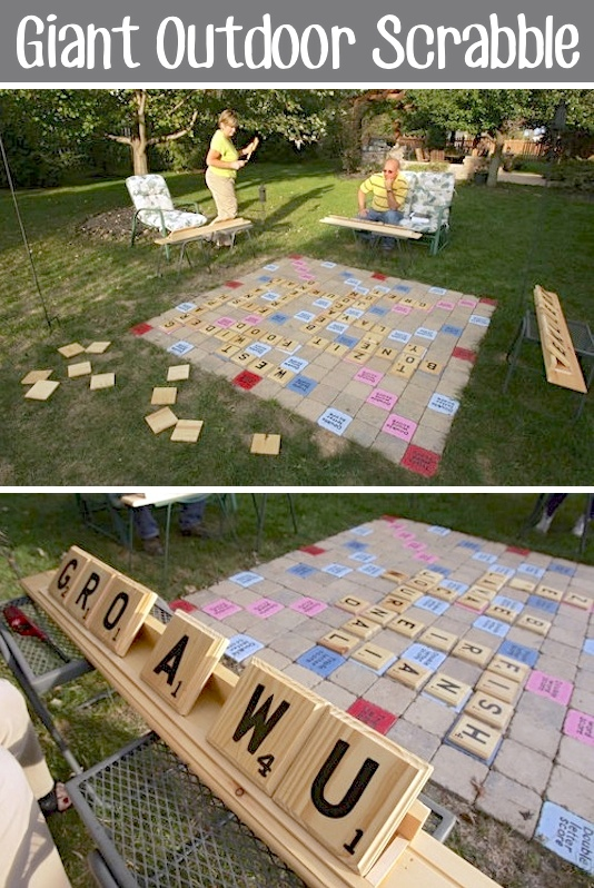 DIY Giant Outdoor Scrabble Game via Listotic - Do it Yourself Outdoor Party Games {The BEST Backyard Entertainment DIY Projects} #scrabble #outdoorscrabble #giantscrabble #backyardgames #diyoutdoorgames #barbecuegames #barbecueideas #backyardpartygames #partygames #outdoorgames #diygames #yardgames #diyyardgames #summergames #summerparty #party #4thofJuly #fathersday #cookoutgames