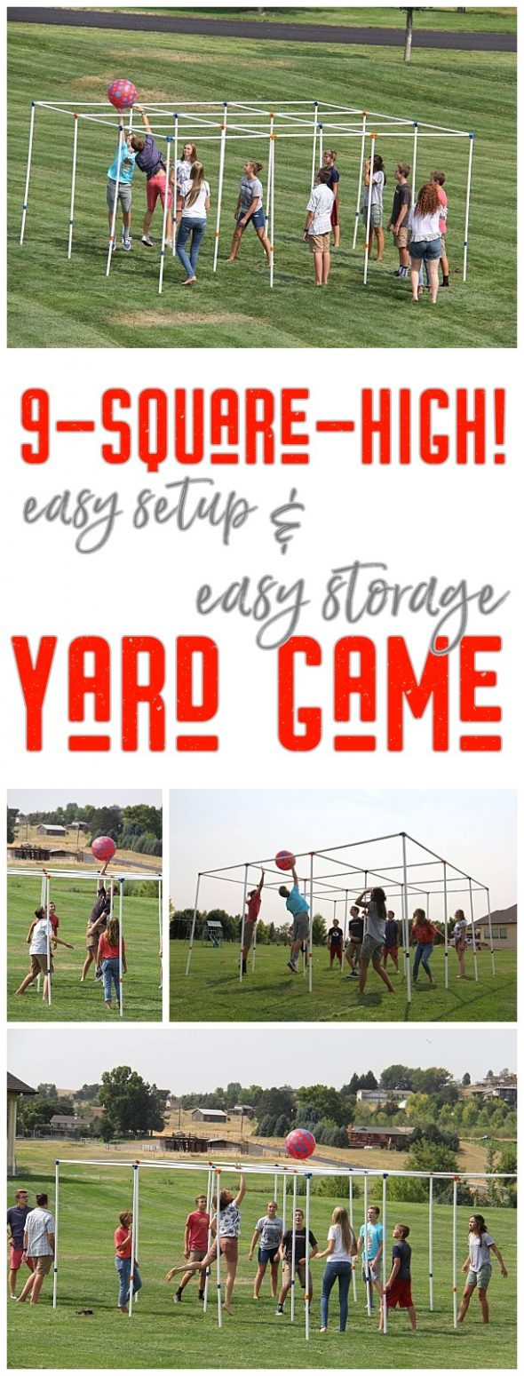 9 Square High Outdoor Party Yard Game and Game Rules - Easy setup and easy storage and SO FUN! Have you played 9-square-high! yet? There's nothing better than seeing a bunch of family, friends, young, old, tall and small play this fun game. Once they start playing, they can't stop! via 9SquareByDJ #9square #9squarehigh #backyardgames #diyoutdoorgames #barbecuegames #barbecueideas #backyardpartygames #partygames #outdoorgames #diygames #yardgames #diyyardgames #summergames #summerparty #party #4thofJuly #fathersday #cookoutgames