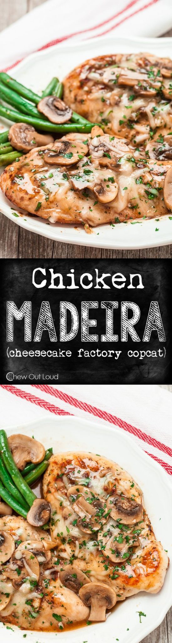 Chicken Recipes - Chicken Madeira - Cheesecake Factory Copycat Recipe via Chew Out Loud - This is SO delicious! #chickenrecipes #popularchickenrecipes #chicken #easychickenrecipes #chickenbreastrecipes #easylunches #easydinners #simplefamilymeals #simplefamilyrecipes #simplerecipes