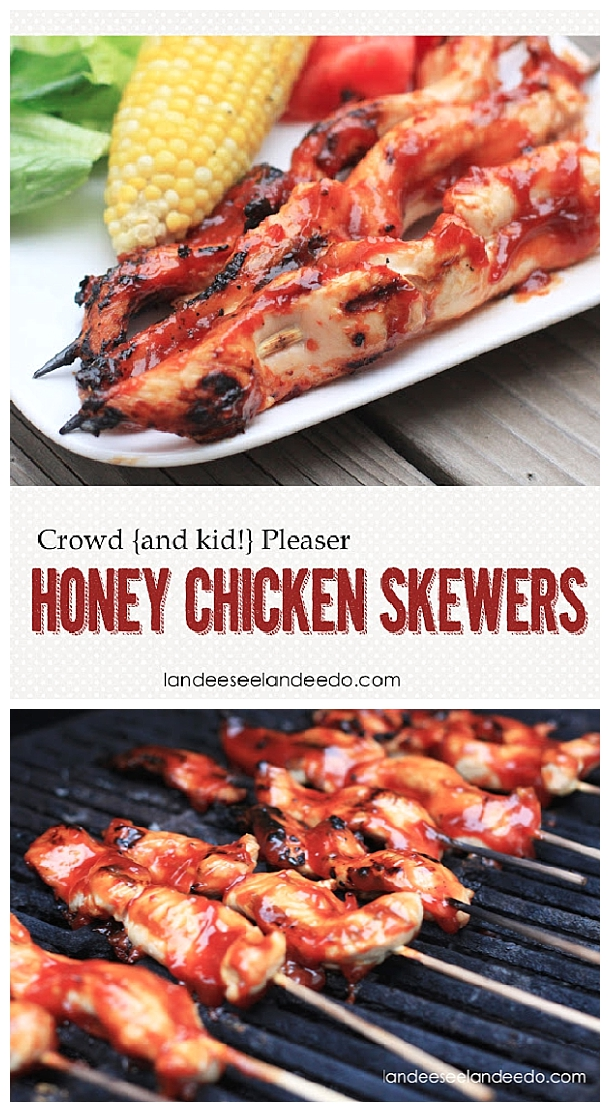 Chicken-Recipes- Crowd Pleasing Easy Honey Chicken Tenderloin Skewers Grilling Recipe via Landeelu #chickenrecipes #popularchickenrecipes #chicken #easychickenrecipes #chickenbreastrecipes #easylunches #easydinners #simplefamilymeals #simplefamilyrecipes #simplerecipes