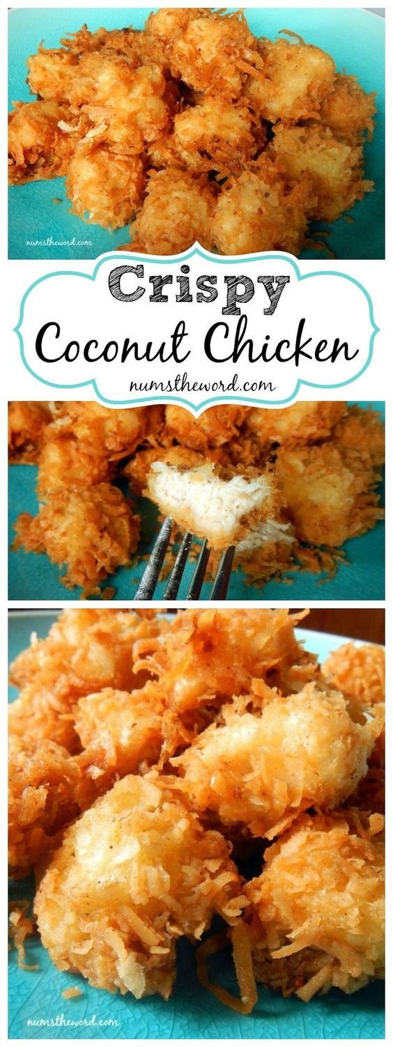 Chicken Recipes - Delicious Crispy Coconut Chicken Recipe via Num's The Word - our Family LOVES this with PIna Colada Dipping Sauce! #chickenrecipes #popularchickenrecipes #chicken #easychickenrecipes #chickenbreastrecipes #easylunches #easydinners #simplefamilymeals #simplefamilyrecipes #simplerecipes