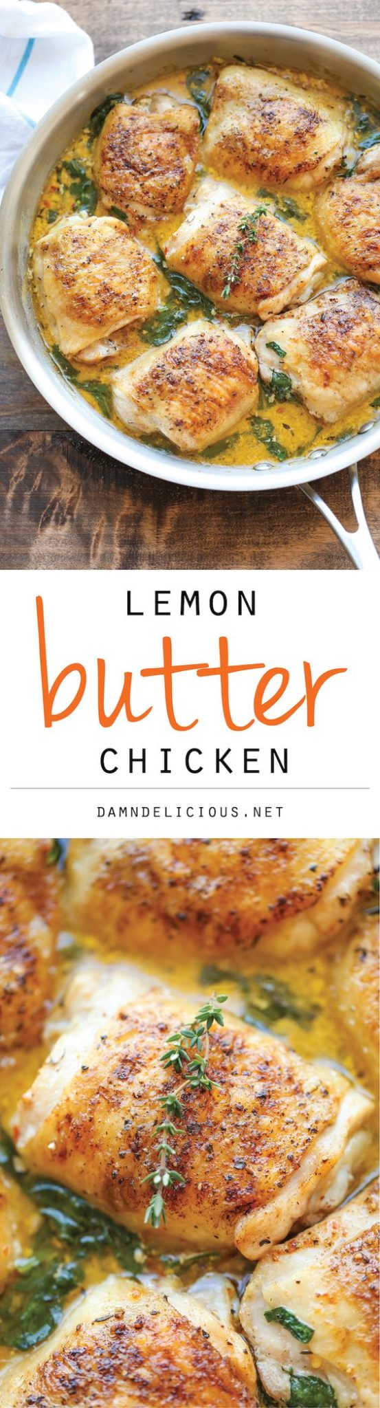 Chicken Recipes - Lemon Butter Chicken - Easy Crisp-Tender Chicken in Creamy Lemon Butter Sauce Recipe via Damn Delicious #chickenrecipes #popularchickenrecipes #chicken #easychickenrecipes #chickenbreastrecipes #easylunches #easydinners #simplefamilymeals #simplefamilyrecipes #simplerecipes