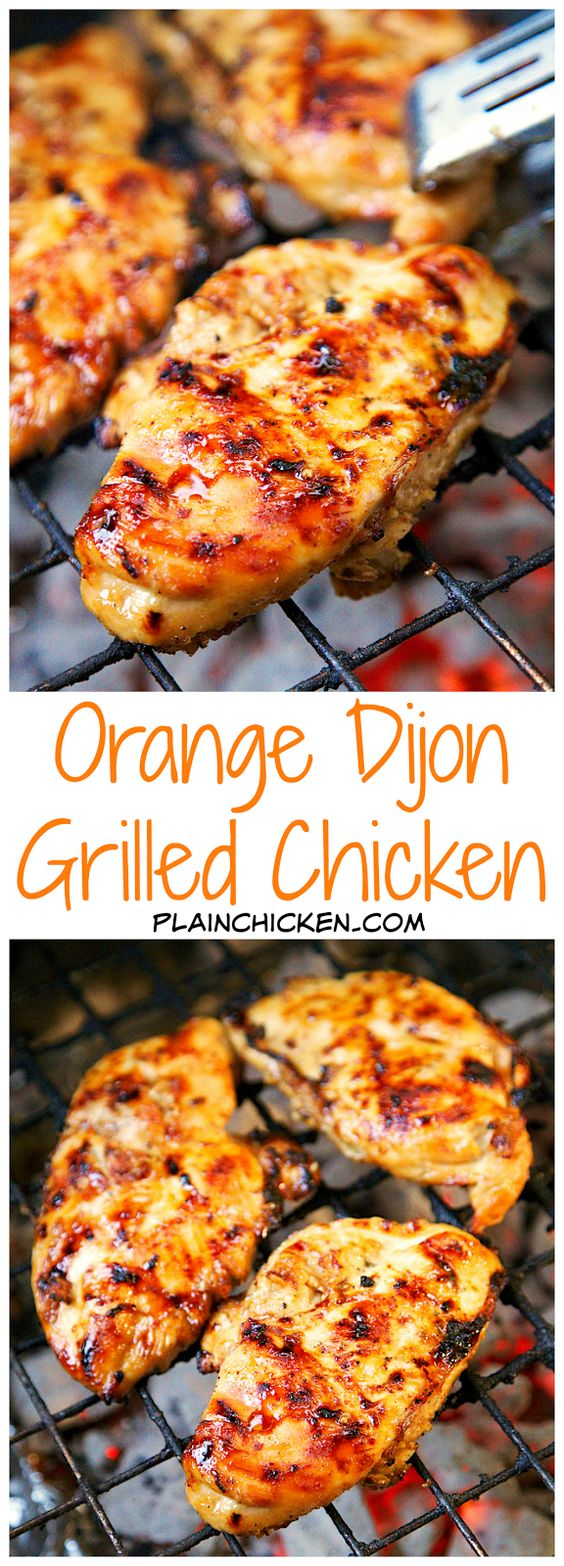 Chicken Recipes - Orange Dijon Grilled Chicken Recipe via Plain Chicken - so juicy and the citrus-dijon flavor combo is SO yummy! #chickenrecipes #popularchickenrecipes #chicken #easychickenrecipes #chickenbreastrecipes #easylunches #easydinners #simplefamilymeals #simplefamilyrecipes #simplerecipes