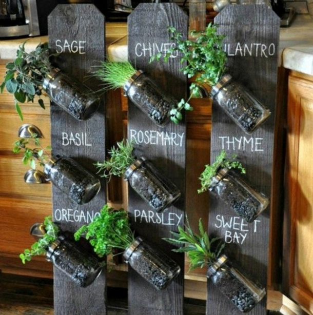 DIY Projects   Create A DIY Indoor Mason Jar Vertical Herb Garden Planter  Via The Whoot