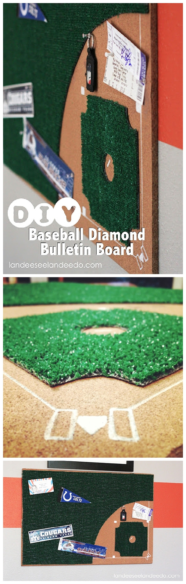 DIY Baseball Diamond Bulletin Board = Easy Do it Yourself Project Tutorial - perfect for Dad's den, man cave or the office! Tutorial via Landeelu