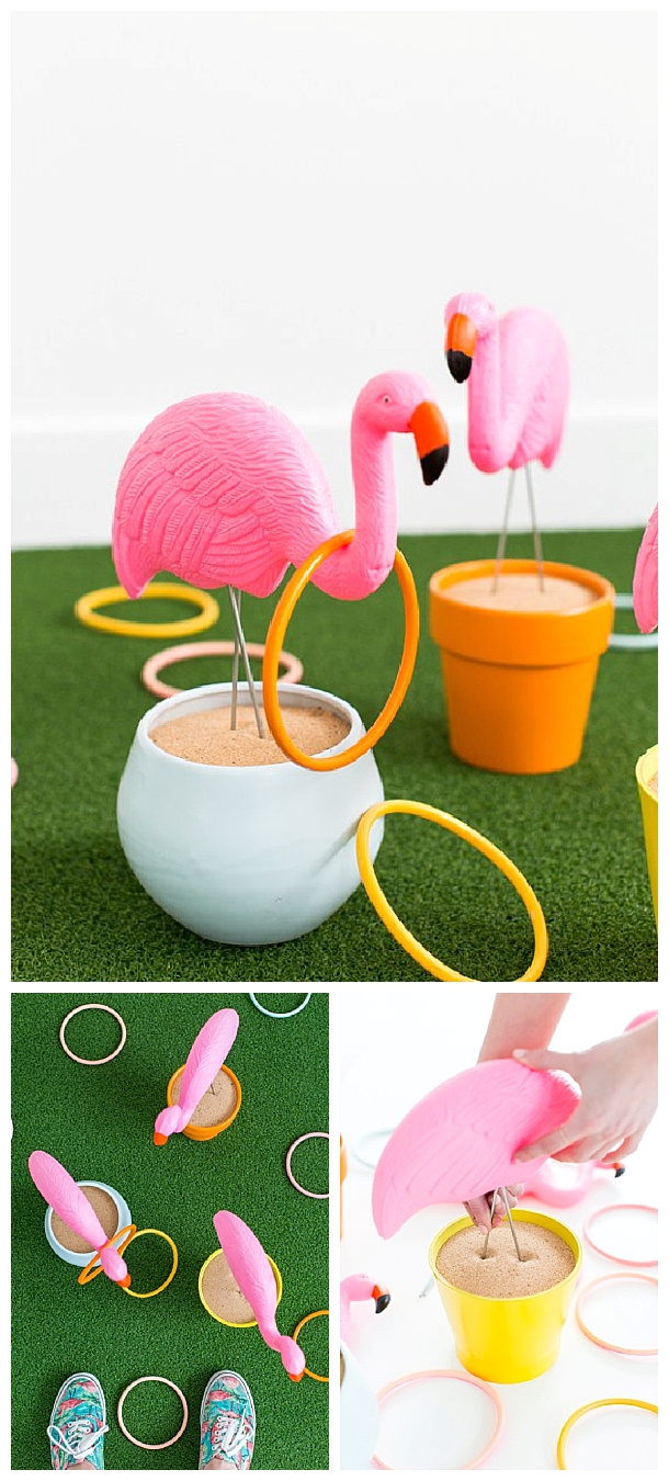 DIY Projects - Fun and CUTE Outdoor Games perfect for cookouts, BBQs and potlucks - DIY Flamingo Ring Toss Game Tutorial via Sugar and Cloth #diyringtoss #ringtoss #backyardgames #diyoutdoorgames #barbecuegames #barbecueideas #backyardpartygames #partygames #outdoorgames #diygames #yardgames #diyyardgames #summergames #summerparty #party #4thofJuly #fathersday #cookoutgames