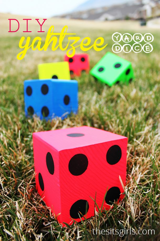 DIY Projects - Outdoor Games - DIY Giant Dice Yard Yahtzee and Printable Score Cards via The Sits Girls - perfect for backyard cookouts - barbecues and outdoor parties #yahtzee #yardyahtzee #diyyahtzee #backyardgames #diyoutdoorgames #barbecuegames #barbecueideas #backyardpartygames #partygames #outdoorgames #diygames #yardgames #diyyardgames #summergames #summerparty #party #4thofJuly #fathersday #cookoutgames