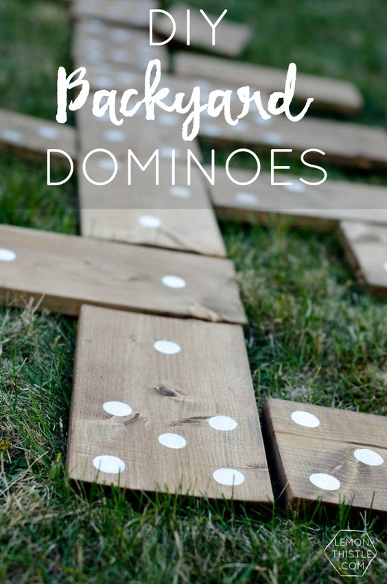 DIY Projects - Outdoor Games - Do It Yourself Backyard DOMINOES - So Fun for cookouts and backyard parties via Lemon Thistle #giantdominoes #backyarddominoes #backyardgames #diyoutdoorgames #barbecuegames #barbecueideas #backyardpartygames #partygames #outdoorgames #diygames #yardgames #diyyardgames #summergames #summerparty #party #4thofJuly #fathersday #cookoutgames