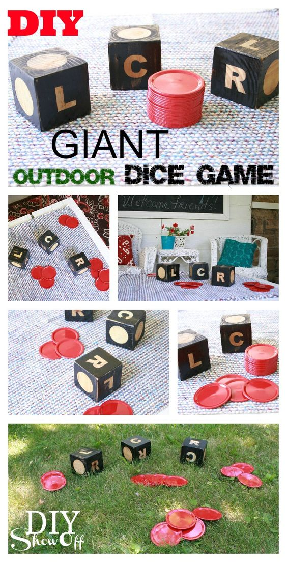 DIY Projects - Outdoor Games -GIANT DIY Dice Game of LCR - So much fun for backyard parties and barbecues - Tutorial via DIY Show Off #backyardgames #diyoutdoorgames #barbecuegames #barbecueideas #backyardpartygames #partygames #outdoorgames #diygames #yardgames #diyyardgames #summergames #summerparty #party #4thofJuly #fathersday #cookoutgames