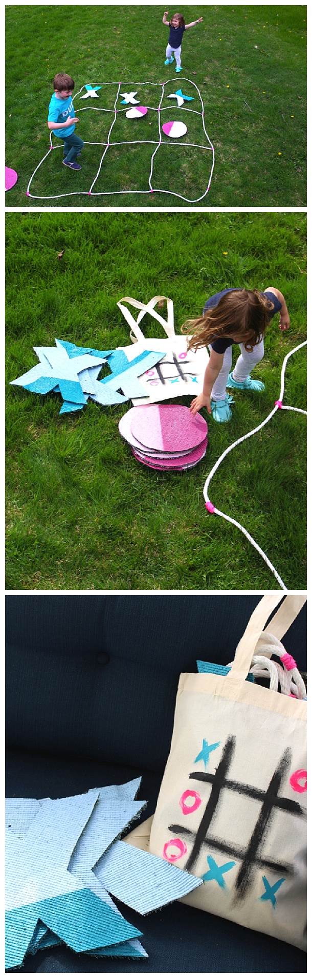 DIY Projects - Outdoor Games - Giant Do it Yourself Tic Tac Toe Game with Storage Bag Tutorial via Cloudy Day Gray #tictactoe #backyardtictactoe #gianttictactoe #backyardgames #diyoutdoorgames #barbecuegames #barbecueideas #backyardpartygames #partygames #outdoorgames #diygames #yardgames #diyyardgames #summergames #summerparty #party #4thofJuly #fathersday #cookoutgames