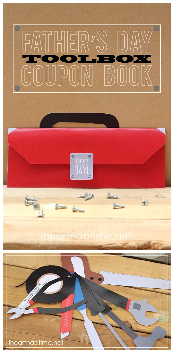Fathers Day Cards FREE Printables - Toolbox Coupon Book with tool shaped coupons - FUN Paper Craft for Dad via i heart naptime
