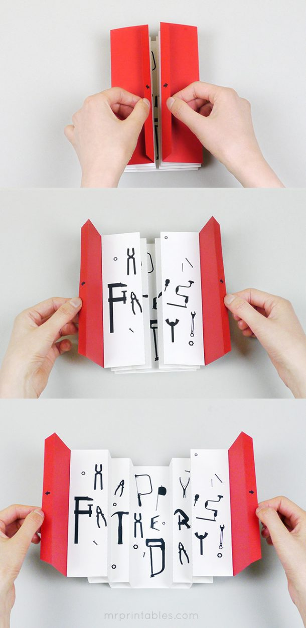 Fathers Day Cards FREE Printables - 3D Toolbox Father's Day Card - Paper Craft DIY and Tutorial via Mr Printables