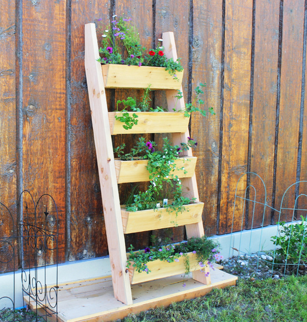 DIY Projects - FREE PLANS and Tutorial to Build a Cedar Vertical Tiered Ladder Garden Planter via Ana White