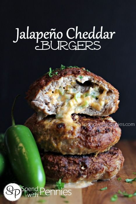 Hamburger Recipes - Grill The BEST Jalapeno Cheddar Burgers with ground beef or ground turkey - Recipe via Spend With Pennies #burgers #gourmetburgers #burgerrecipes #cookouts #grilling #barbecue #hamburgers #fathersday #fathersdayfood #bbq #partyfood #tailgating #superbowlfood #superbowl #summerfood #easylunches #easydinners #easysuppers