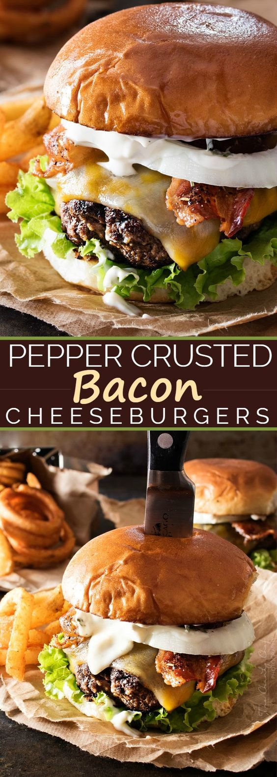 Hamburger Recipes - Pepper Crusted Bacon Cheeseburgers slathered with a garlic aioli - Grill these up tonite - so delicious - via The Chunky Chef #burgers #gourmetburgers #burgerrecipes #cookouts #grilling #barbecue #hamburgers #fathersday #fathersdayfood #bbq #partyfood #tailgating #superbowlfood #superbowl #summerfood #easylunches #easydinners #easysuppers