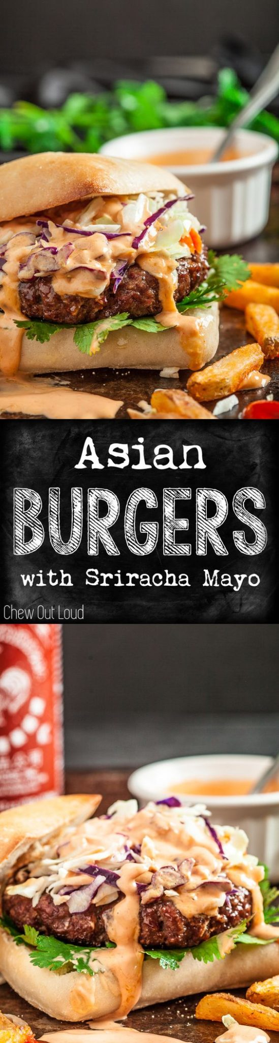 Hamburger Recipes - The BEST Ground Beef Asian Burgers ready for the grill with Sriracha Mayo - Recipe via Chew Out Loud #burgers #gourmetburgers #burgerrecipes #cookouts #grilling #barbecue #hamburgers #fathersday #fathersdayfood #bbq #partyfood #tailgating #superbowlfood #superbowl #summerfood #easylunches #easydinners #easysuppers
