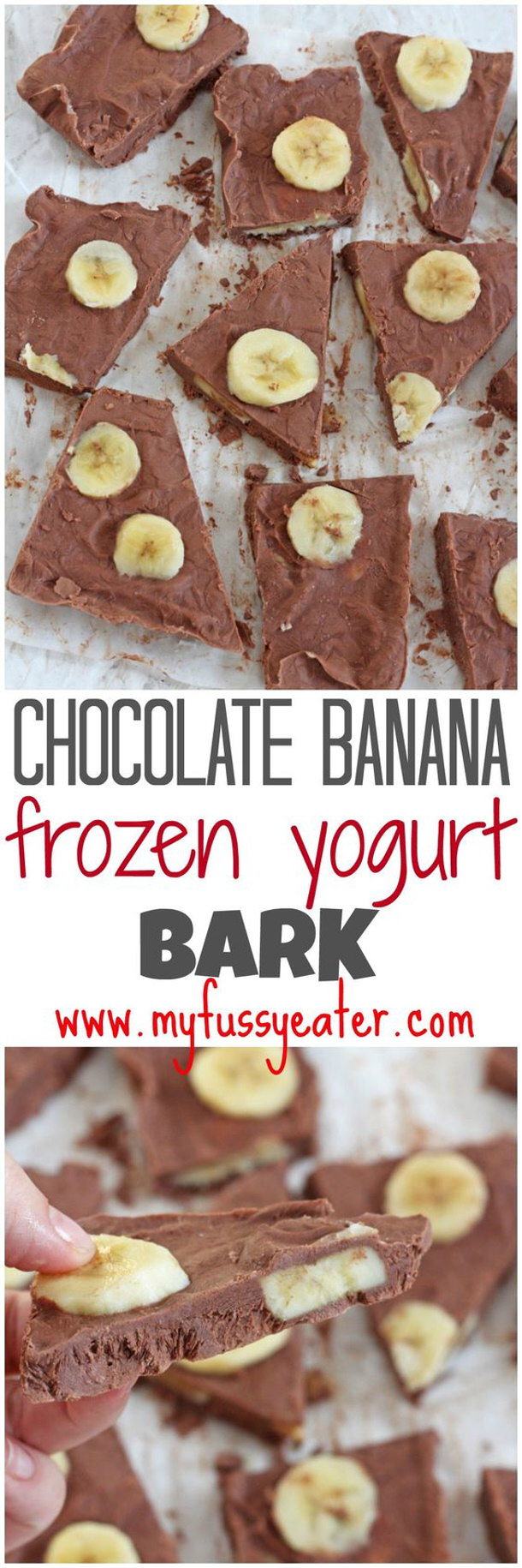 Healthy Snacks - Chocolate Banana Frozen Bark Recipe via My Fussy Eater