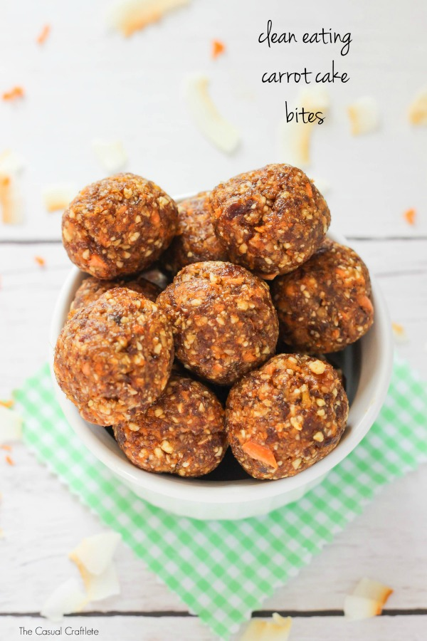 Healthy Snacks - Clean Eating Carrot Cake Energy Bites Recipe via The Casual Craftlete #healthysnacks #healthytreats #healthyafterschooltreats #healthyrecipes #healthyfood #healthy #healthydesserts