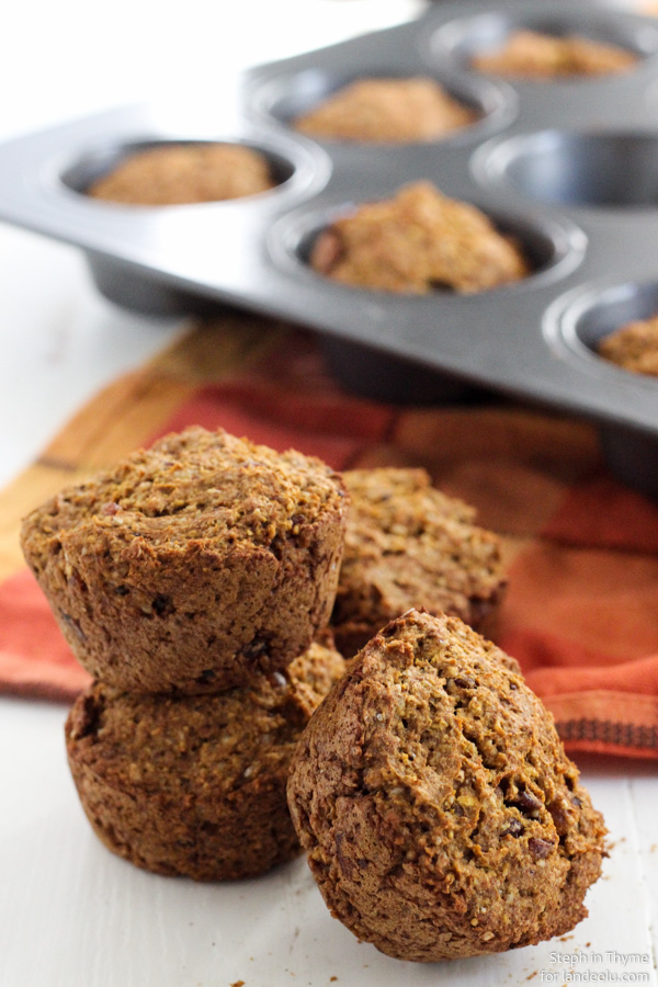 Healthy Snacks - Healthy PUMPKIN Muffins Recipe - Gluten Free - Dairy Free - Egg Free and Vegan via Landeelu #healthysnacks #healthytreats #healthyafterschooltreats #healthyrecipes #healthyfood #healthy #healthydesserts