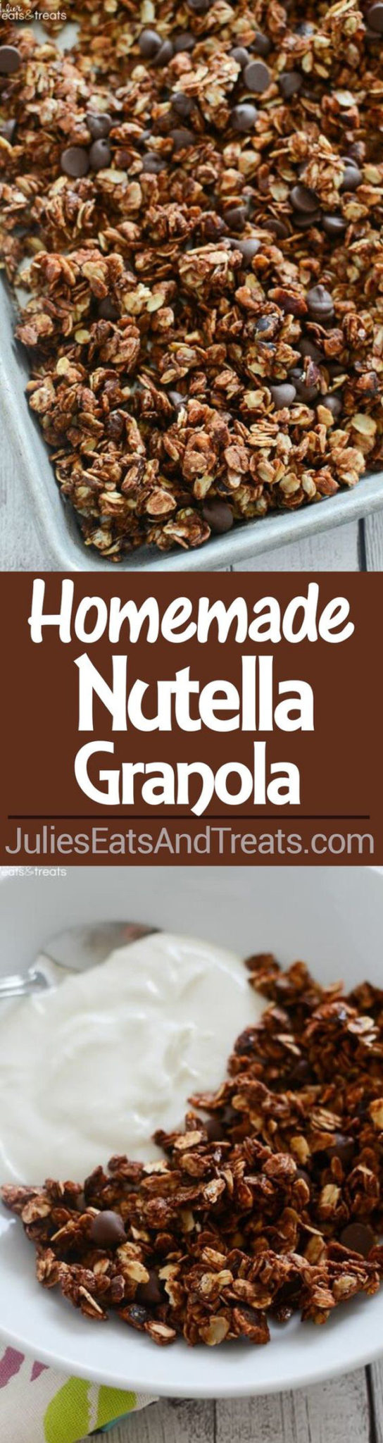 Healthy Snacks - Homemade Nutella Granola Recipe via Julies Eats and Treats #healthysnacks #healthytreats #healthyafterschooltreats #healthyrecipes #healthyfood #healthy #healthydesserts