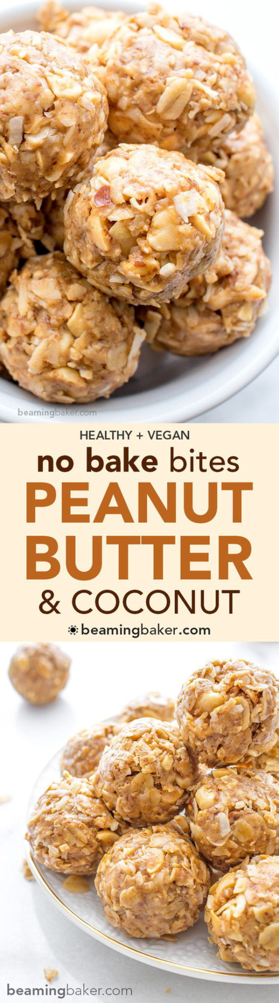 Healthy Snacks - No Bake Peanut Butter Coconut Bites - Vegan and Gluten Free Recipe via Beaming Baker #healthysnacks #healthytreats #healthyafterschooltreats #healthyrecipes #healthyfood #healthy #healthydesserts