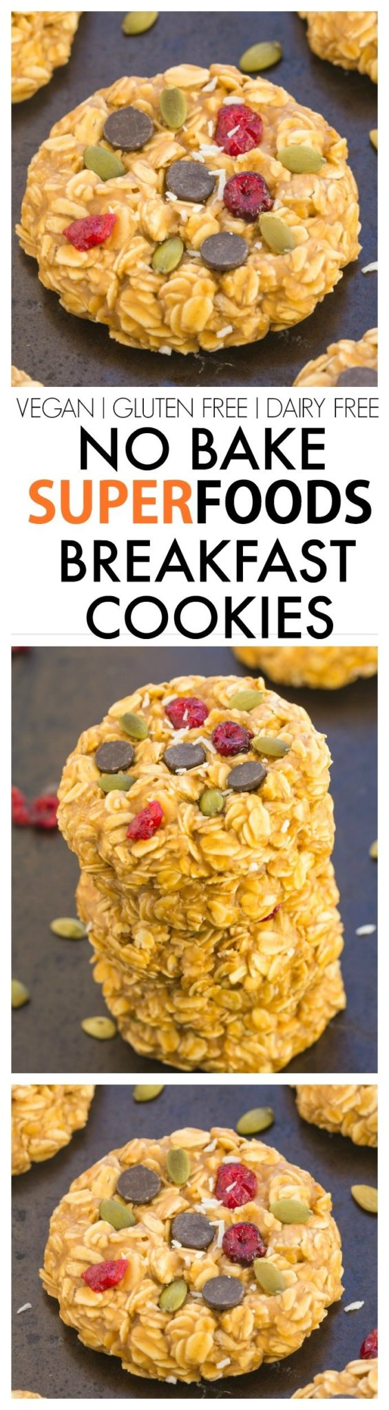 Healthy Snacks - No Bake SUPERFOODS Breakfast Cookies Recipe - Vegan - Gluten-Free - Dairy-Free Treats via The Big Mans World