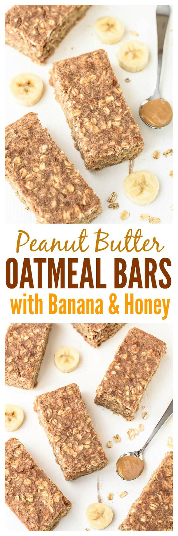 Healthy Snacks - Peanut Butter Oatmeal Bars with Banana and Honey Recipe via Well Plated by Erin