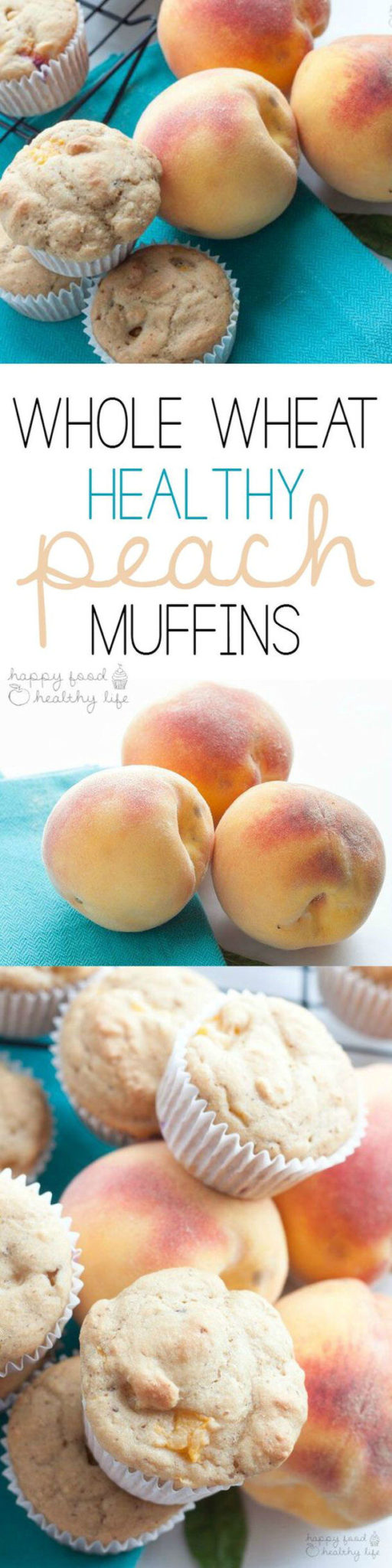 Healthy Snacks - Whole Wheat Healthy Peach Muffins Recipe via Happy Food Healthy Life #healthysnacks #healthytreats #healthyafterschooltreats #healthyrecipes #healthyfood #healthy #healthydesserts