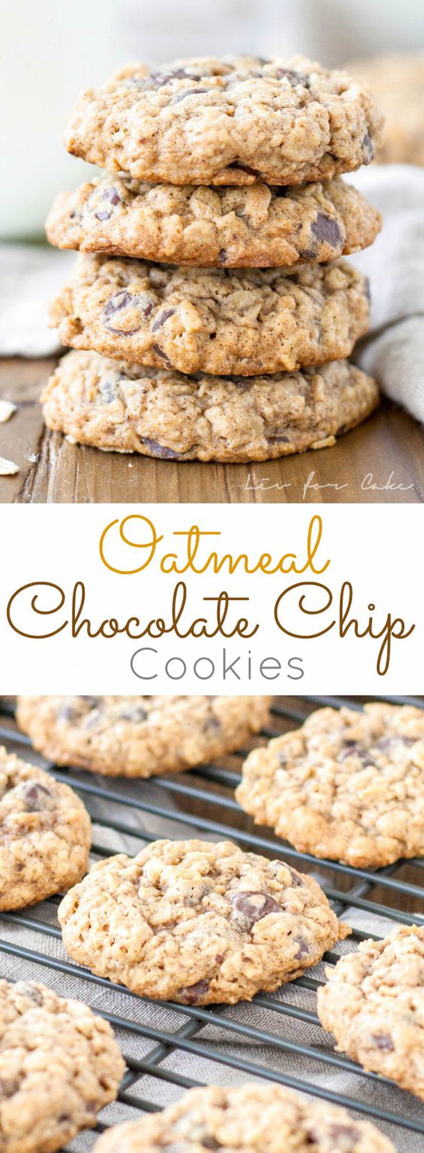 Oatmeal Chocolate Chip Cookies Recipe via Liv for Cake - So Yummy #chocolatechipcookies #chocolatechip #chocolatechiptreats #chocolatechipdesserts #chocolatechiprecipes