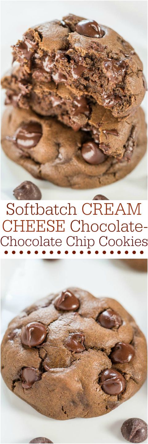 The BEST Chocolate Chip Cookies and Treats Recipes - Softbatch Cream Cheese Chocolate-Chocolate Chip Cookies Recipe via Averie Cooks #chocolatechipcookies #chocolatechip #chocolatechiptreats #chocolatechipdesserts #chocolatechiprecipes