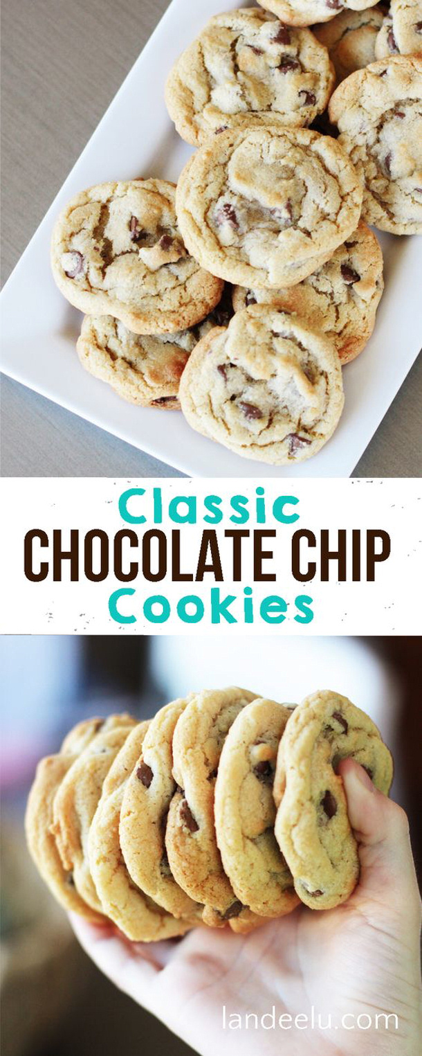 The BEST Classic Chocolate Chip Cookies Recipe via Landeelu #chocolatechipcookies #chocolatechip #chocolatechiptreats #chocolatechipdesserts #chocolatechiprecipes