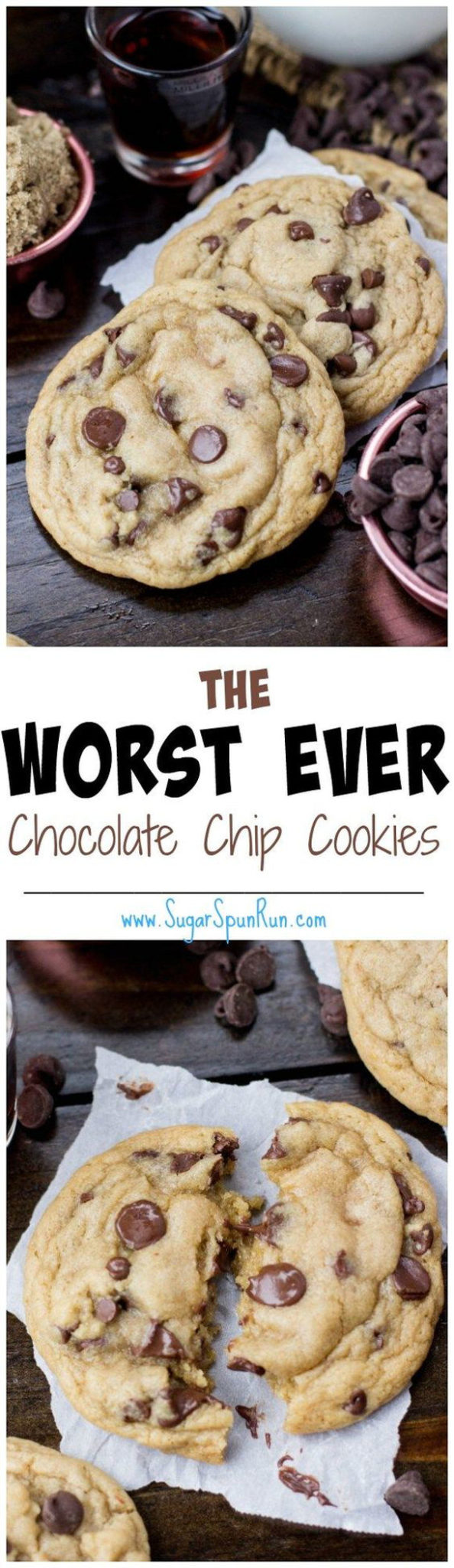 The Worst Ever Chocolate Chip Cookies Recipe via Sugar Spun Run #chocolatechipcookies #chocolatechip #chocolatechiptreats #chocolatechipdesserts #chocolatechiprecipes