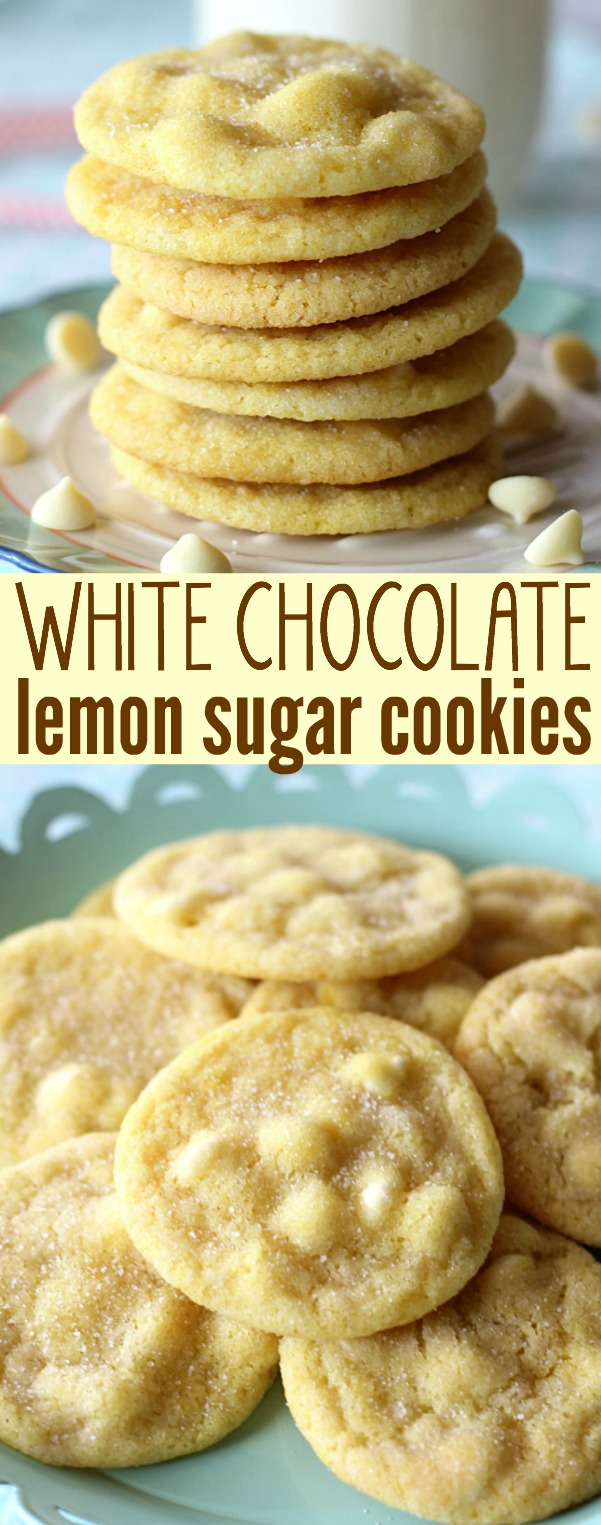 White Chocolate Lemon Sugar Cookies Recipe via Belle of the Kitchen - So Yummy #chocolatechipcookies #chocolatechip #chocolatechiptreats #chocolatechipdesserts #chocolatechiprecipes
