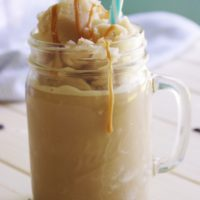 65 Calorie Skinny Caramel Vanilla Homemade Blended Iced Coffee Recipe - So frosty - yummy and GUILT FREE