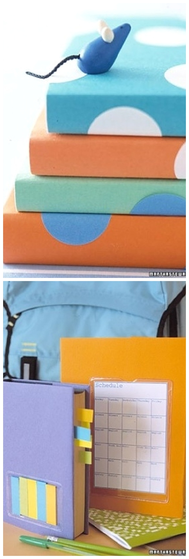 DIY Back to School Projects for Teens and Tweens - Do it yourself Book Covers with Plastic Pockets to hold your stuff - tutorial via martha stewart