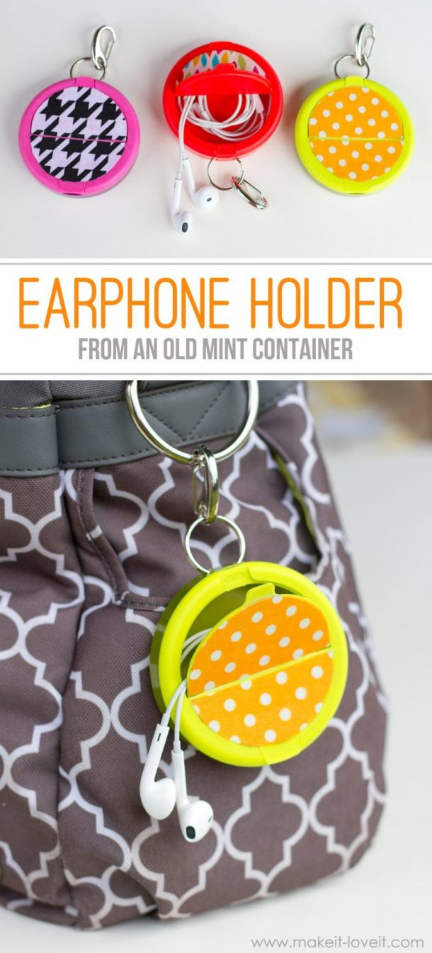 DIY Clip On Ear Buds Holder Upcycle from an old mint container - easy do it yourself project via make it love it - The BEST DIY Gifts for Teens, Tweens and Friends - Easy, Unique and Cheap Handmade Christmas or Birthday Present Ideas to make for you and your BFFs! #giftsforteens #teengiftideas #diygiftsforteens #tweengifts #tweengiftideas #diytweengifts #bffgifts #giftsforfriends #HandmadeGifts