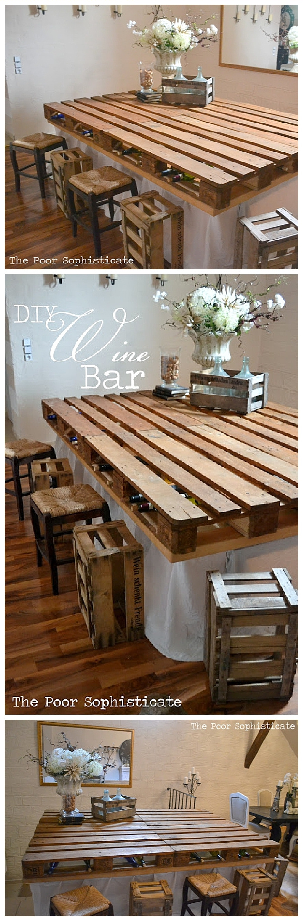 DIY Pallet Projects - Do it Yourself Completely FREE Pallet Wine Bar Table Top Woodworking Upcycle Tutorial via The Poor Sophisticate #easypalletprojects #beginnerwoodworking #easywoodworkingtutorials #woodworkingtutorials #DIYprojects #easyDIYprojects #diyhomedecor #diyfurniture