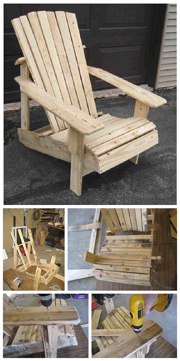 DIY Pallet Projects - Do it Yourself Pallet Adirondack Chair Step By Step Woodworking Tutorial via Home Stratosphere #easypalletprojects #beginnerwoodworking #easywoodworkingtutorials #woodworkingtutorials #DIYprojects #easyDIYprojects #diyhomedecor #diyfurniture