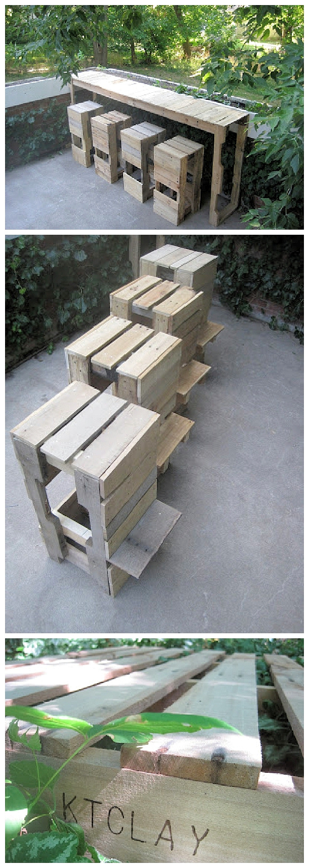 DIY Pallet Projects - Do it Yourself Pallet Bar Table with Stools with Footrests Woodworking Upcycle Tutorial via Stacked Design #easypalletprojects #beginnerwoodworking #easywoodworkingtutorials #woodworkingtutorials #DIYprojects #easyDIYprojects #diyhomedecor #diyfurniture