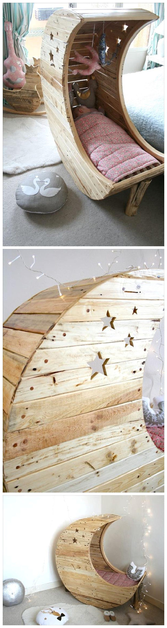 Do it Yourself Pallet Projects - DIY Pallet Moon Shaped Baby Cradle Woodworking Tutorial via 99 Pallets #easypalletprojects #beginnerwoodworking #easywoodworkingtutorials #woodworkingtutorials #DIYprojects #easyDIYprojects #diyhomedecor #diyfurniture