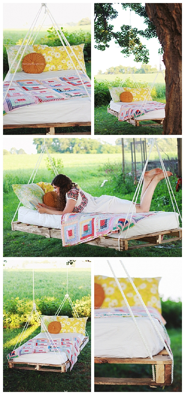 Do it Yourself Pallet Projects - DIY Pallet Swing Bed Woodworking Upcycle Tutorial via The Merry Thought #easypalletprojects #beginnerwoodworking #easywoodworkingtutorials #woodworkingtutorials #DIYprojects #easyDIYprojects #diyhomedecor #diyfurniture