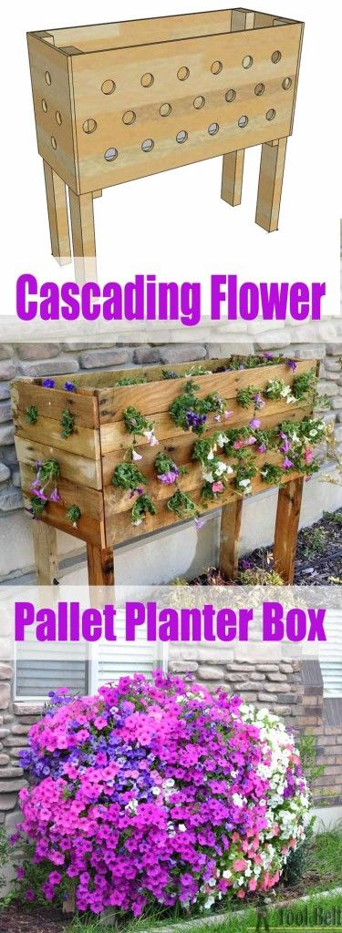 Do it Yourself Pallet Projects - Pallet Cascading Flower Planter Box Plans and Woodworking Gardening Tutorial via Her Tool Belt - DIY Outdoor Projects #easypalletprojects #beginnerwoodworking #easywoodworkingtutorials #woodworkingtutorials #DIYprojects #easyDIYprojects #diyhomedecor #diyfurniture