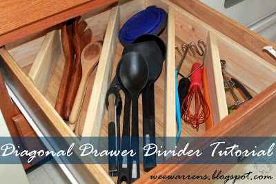Easy Tips to Organize the Kitchen - DIY Diagonal Drawer Divider Organizer Tutorial via Wee Warrens #kitchenorganization #kitchenhacks #kitchentips #kitchenideas #organizationtips #organization #organizationideas