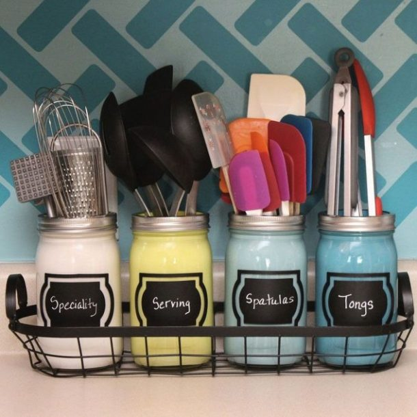 Easy Tips to Organize the Kitchen - Pretty painted and labeled mason jars as a cooking utensil holding caddy via hometalk
