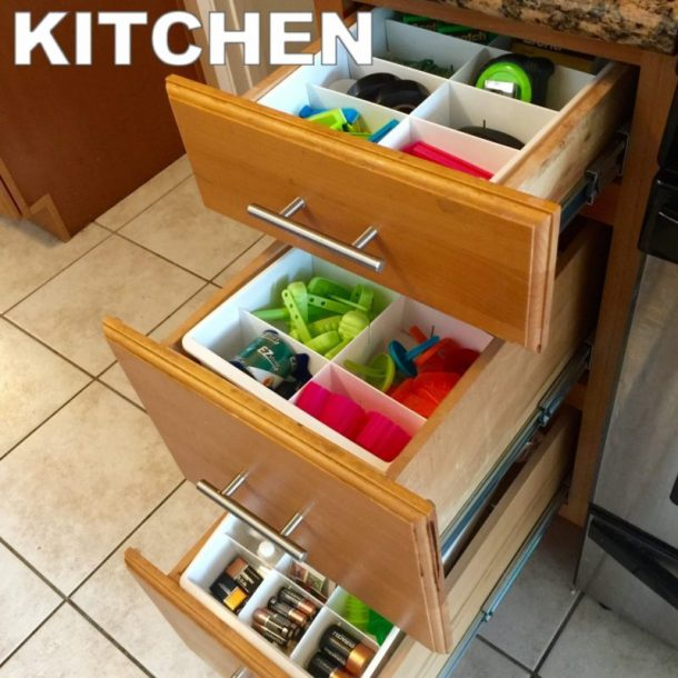 Easy Tips to Organize the Kitchen - Use Adjustable Dividers to get the JUNK DRAWER and measuring spoons and cups under control and organized #kitchenorganization #kitchenhacks #kitchentips #kitchenideas #organizationtips #organization #organizationideas