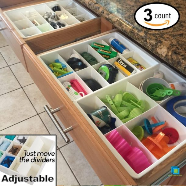 Easy Tips to Organize the Kitchen - Use Adjustable Dividers to get the JUNK DRAWER under control and organized #kitchenorganization #kitchenhacks #kitchentips #kitchenideas #organizationtips #organization #organizationideas
