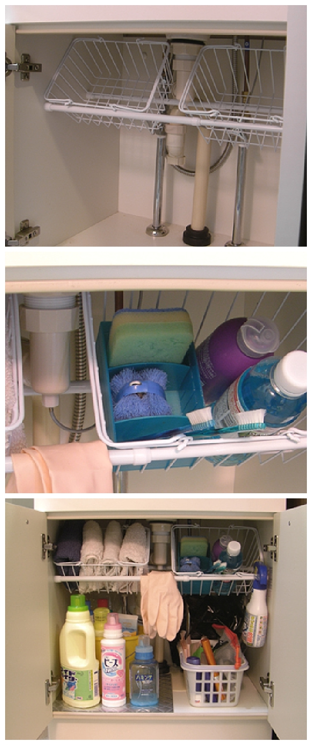 Easy Tips to Organize your Kitchen - Use small tension rods to hold wire baskets at an angle under the kitchen sink #kitchenorganization #kitchenhacks #kitchentips #kitchenideas #organizationtips #organization #organizationideas