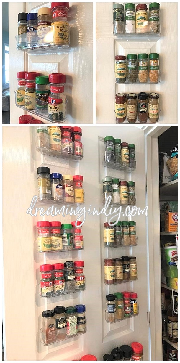 Organize Spices Using Clear Command Caddies - a damage free space saving solution to utilize that wasted space on the inside of your pantry door or a blank wall! via Dreaming in DIY #kitchenorganization #kitchenhacks #kitchentips #kitchenideas #organizationtips #organization #organizationideas