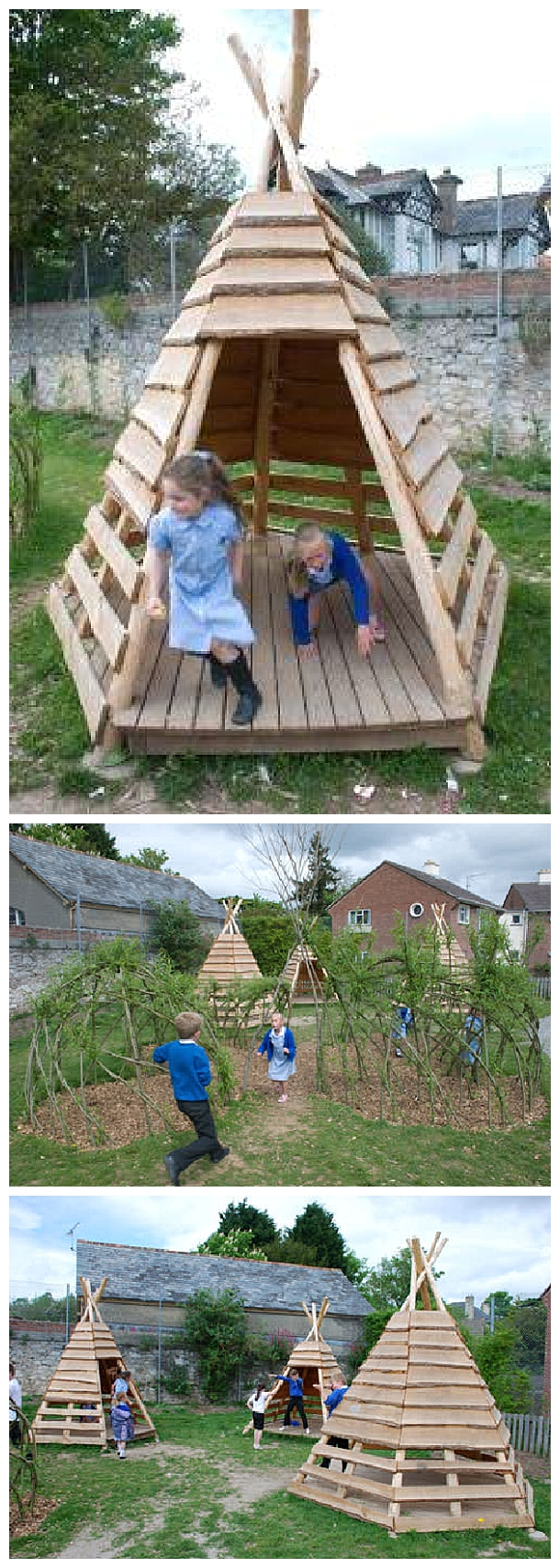 Pallet Projects - DIY Outdoor TeePee for a Kids Playground or the Backyard - Do it Yourself Outdoor Woodworking Tutorial via 1001 Pallets #easypalletprojects #beginnerwoodworking #easywoodworkingtutorials #woodworkingtutorials #DIYprojects #easyDIYprojects #diyhomedecor #diyfurniture