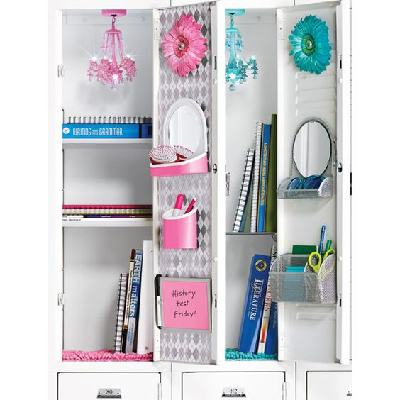 the prettiest pink or turquoise locker chandelier for back to school teens and tweens locker - Locker Designs Ideas